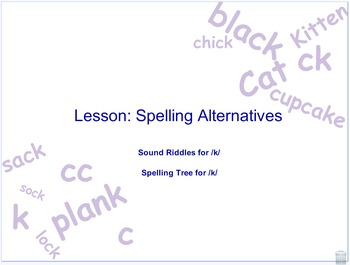 Spelling alternatives for the k sound