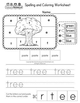 Spelling and Coloring Worksheets for Kindergarten (100 Worksheets)