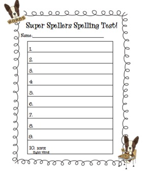 Spelling and dictation test templates by the peaceful for Test templates for teachers