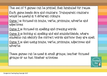 4 x Spelling and Grammar Games
