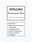 Spelling and Grammar - Homonyms / Homophones (with Memory / Concentration Game)