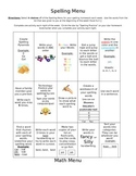 Spelling and Math Menus for Classroom or Homework