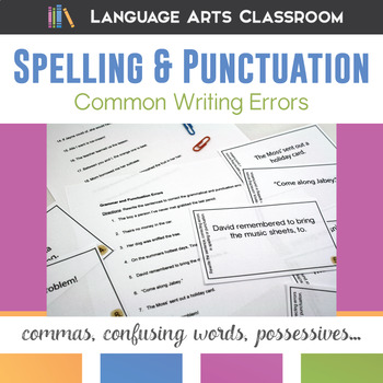 Common Writing Errors: Spelling and Punctuation Errors Task Cards