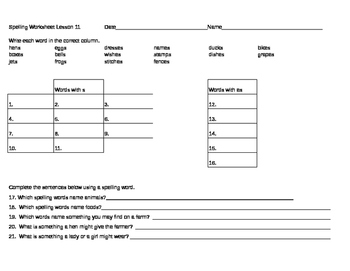 Spelling and Reading Vocabulary Worksheets
