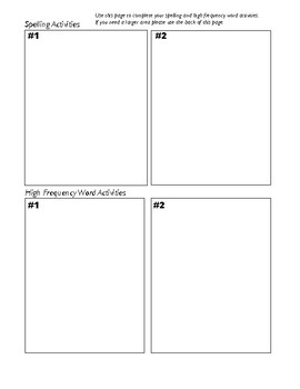Spelling and Sight Word Choice Board