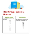 Spelling and Sight Word List for Red Primary Phonics Reader #1