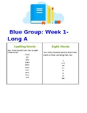 Spelling and Sight Word List to accompany Blue Primary Pho