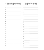 Spelling and Sight Word Practice Form