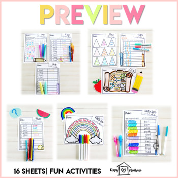 Spelling and Sight Word Practice Menu