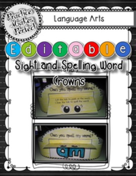 Spelling and Sight Words Crowns Editable
