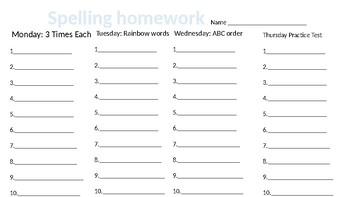 Spelling and Sight Words Homework Sheet