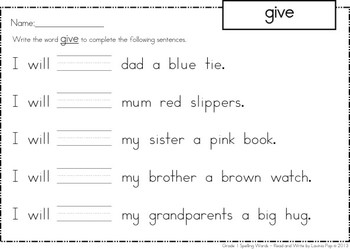 Spelling and Sight Words - Read and Write FREE