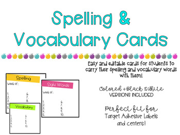 Spelling and Vocabulary Cards
