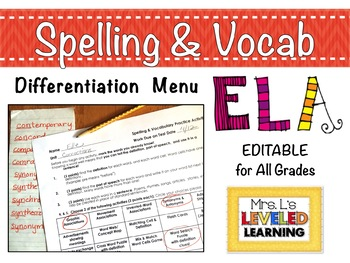 Spelling and Vocabulary Differentiation Menu - EDITABLE