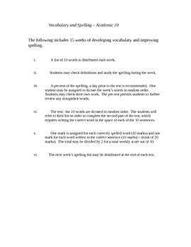 Spelling & Vocabulary - Grade 10 (academic)
