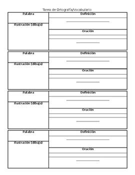 Spelling and Vocabulary Homework