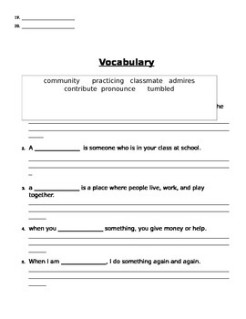 Spelling and Vocabulary List and Pretest