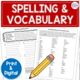 Spelling and Vocabulary Lists and Activities | Editable an
