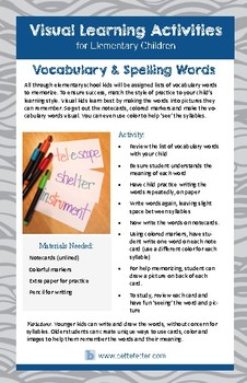 Spelling and Vocabulary Study Activity