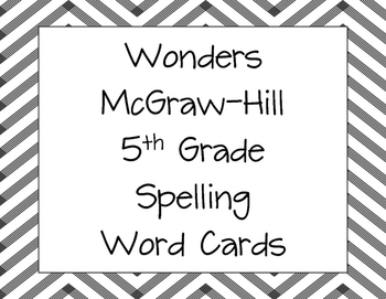 Spelling and Vocabulary Word Cards for Wonders by McGraw-Hill Grade 5 All Units