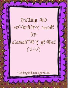 Spelling and Vocabulary Word  Menus