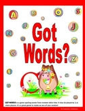 Spelling and Word Work Activity: GOT WORDS?