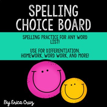 Spelling and Word Work Choice Board for any Word List