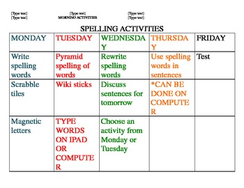 Spelling and Writing weekly activities