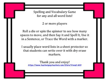 Spelling and/or Vocabulary Game for Any Word List!