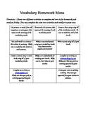 Spelling and/or Vocabulary Homework Menu (Editable)