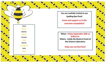Spelling bee Invitation for parents