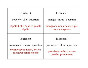 Spelling-change verbs in French Present tense Question Question Pass activity