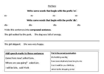 Spelling- compound words and Literacy Review
