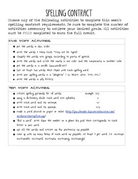 Spelling contract w/out spellingcity activities by Julia Maynard