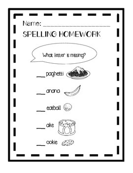 Spelling - food words