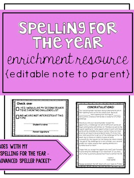 Spelling for the Year - Parent Note