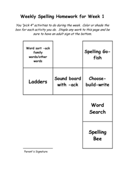 Spelling homework activities templates