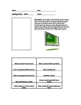 Spelling homework for any list!