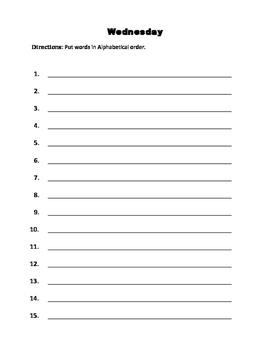 Spelling homework packet- 15 words
