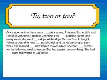 Spelling homphones and knowing their meaning using stories: a ninja princess