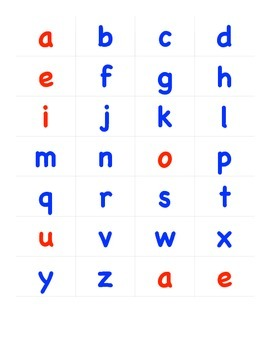 red vowels blue consonants letters printable by koval s pals tpt