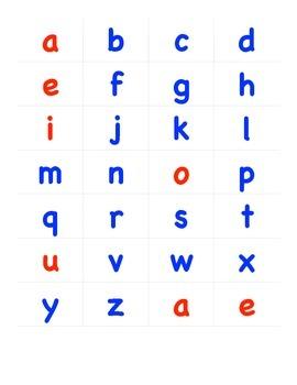 Red Vowels Blue Consonants letters printable