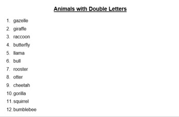 Spelling list and Activities - Animals with Double Letters