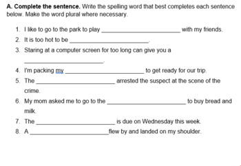 Spelling list and Activities - Compound words