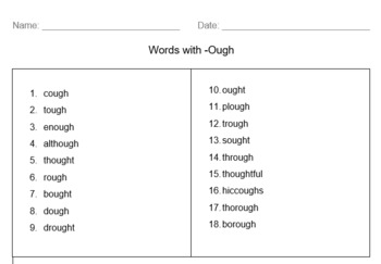 Spelling list and Activities - Words with -ough