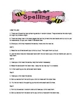 Spelling list weeks 1 - 12