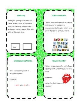 Spelling menu/activities