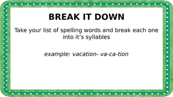 Spelling or Vocabulary words task cards