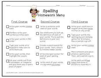 Spelling or Word Study Homework menu {Revised}
