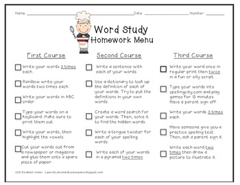 Spelling or Word Study Homework menu {Revised}